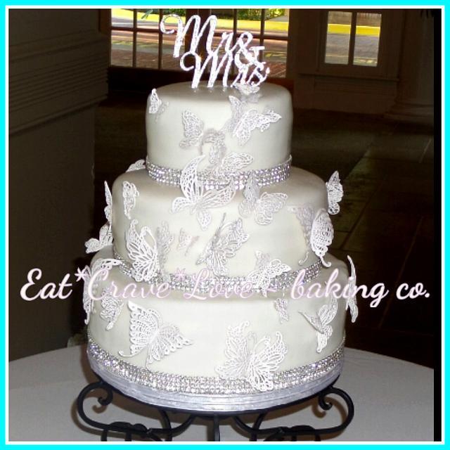 White Lace Butterflies wedding cake
