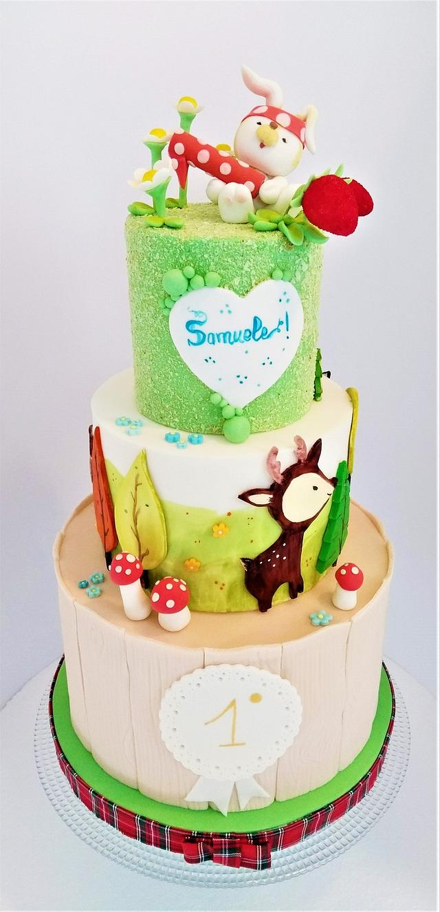 Woodland - First birthday cake