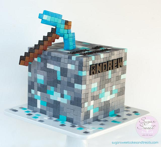 Diamond Ore Cube Minecraft Cake Cake By Angela Cakesdecor