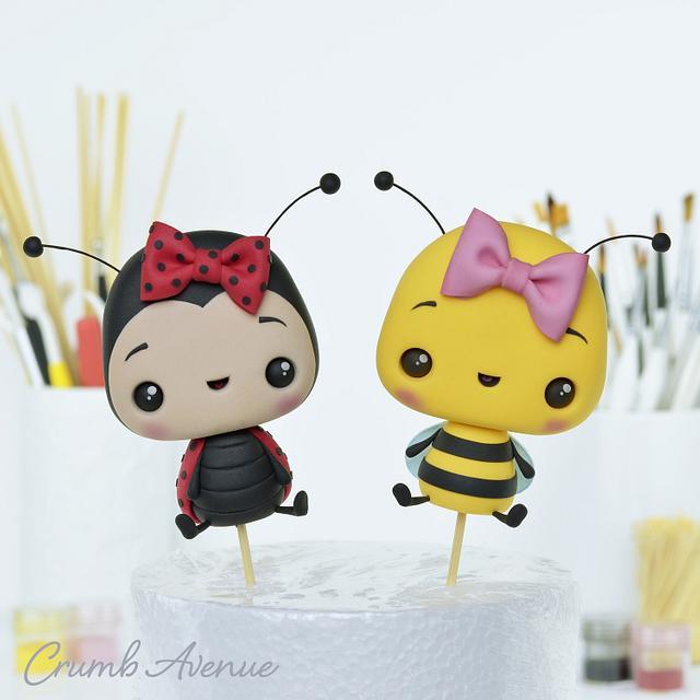 Bee and Ladybug Cake Toppers