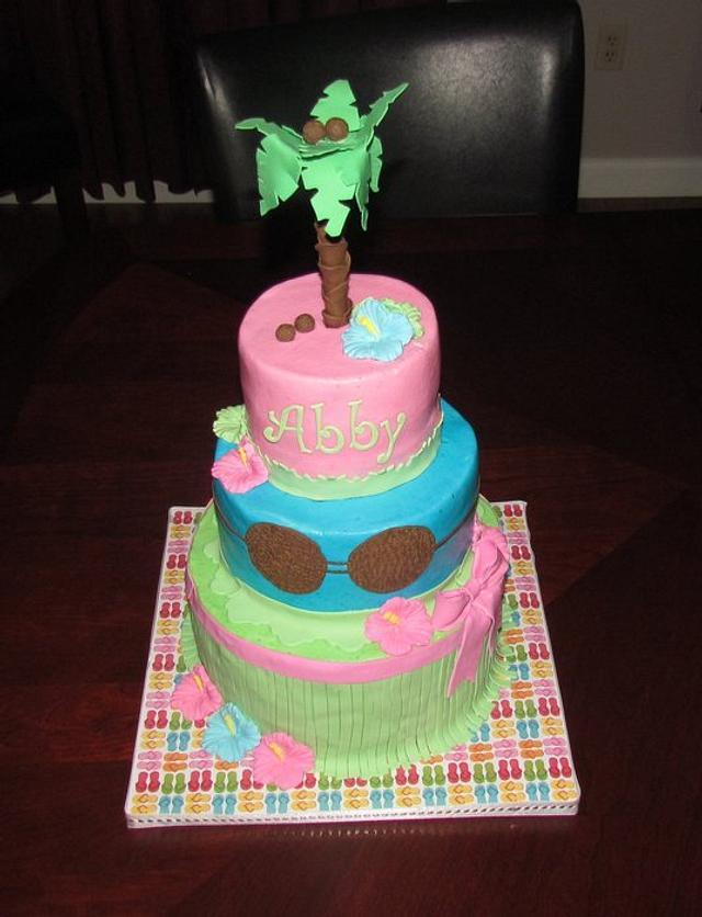 Awesome Hawaiian Birthday Cake Cake By Jaybugs Sweet Shop Cakesdecor Funny Birthday Cards Online Fluifree Goldxyz