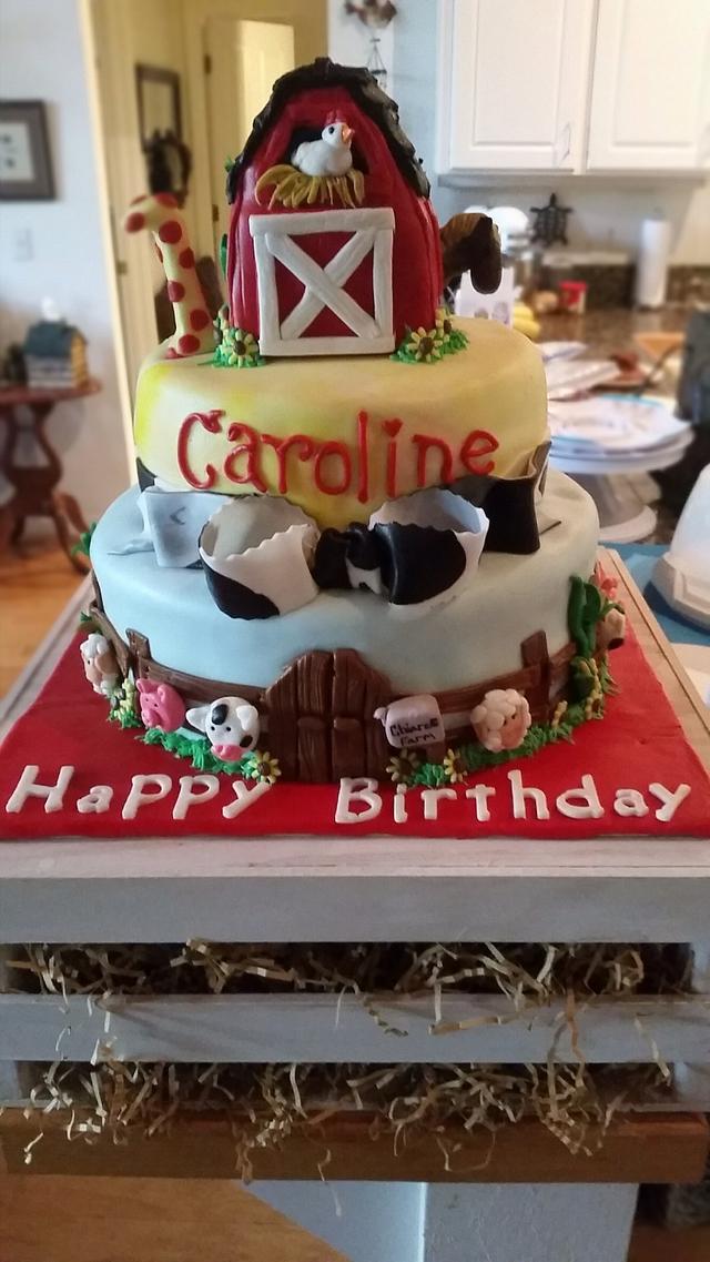 Fantastic Barnyard Birthday Cake By Winniessugar Cakesdecor Funny Birthday Cards Online Inifodamsfinfo