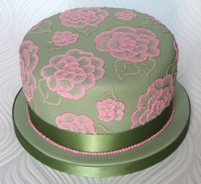 Brush Embroidery Cake