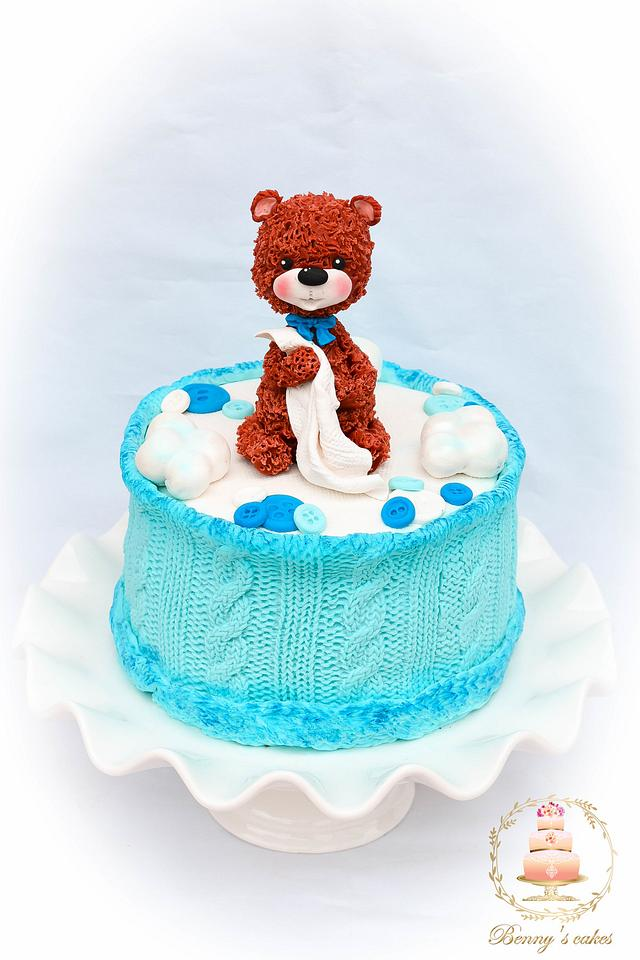 Cute baby cake with a bear