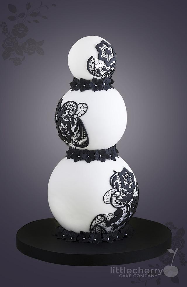 Black and White Sphere Cake