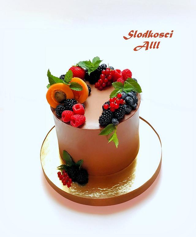 Peachy Birthday Cake With Fresh Fruit Cake By Alll Cakesdecor Personalised Birthday Cards Veneteletsinfo