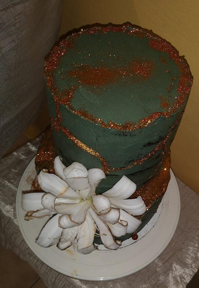 Birthday stone effect  crackled cake