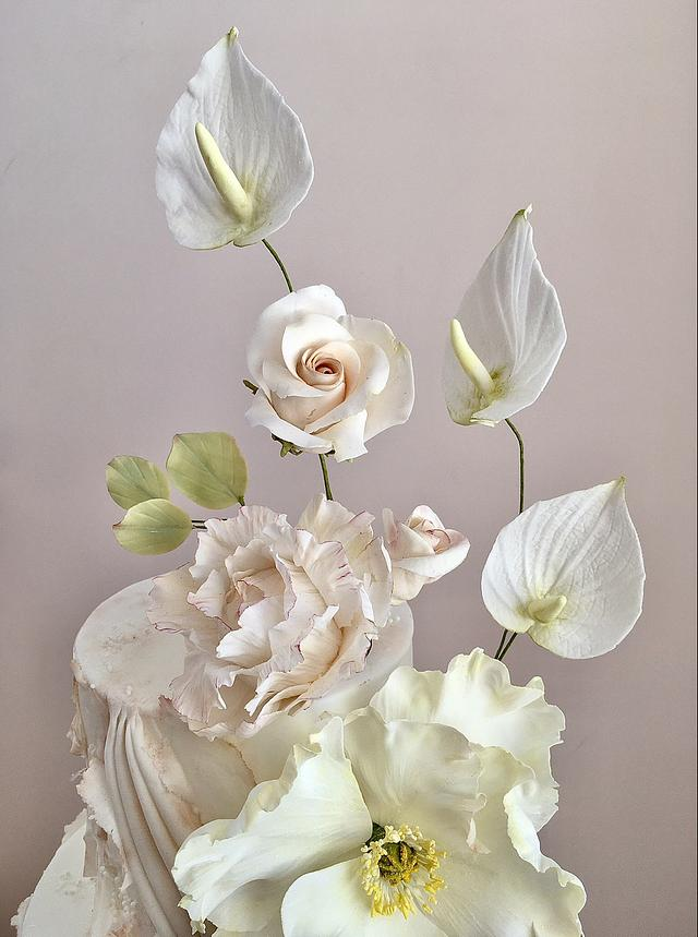 Sugar Flowers on a textured cake