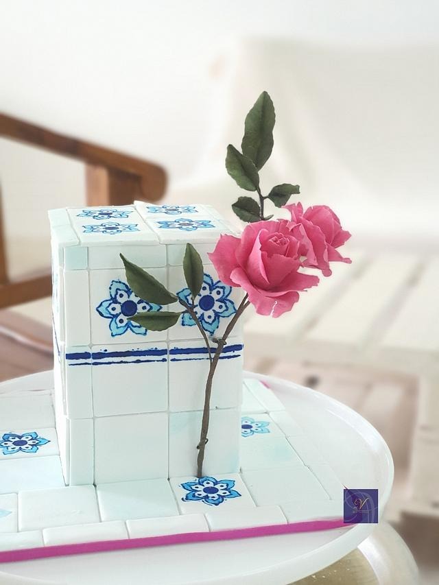 Blue Tiles and Rose