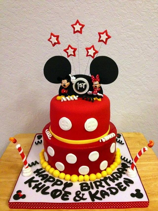Mickey & Minnie Mouse Themed Cake for twins