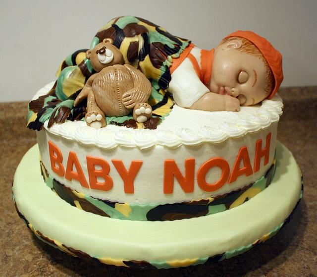 3-D Baby Camo Cake