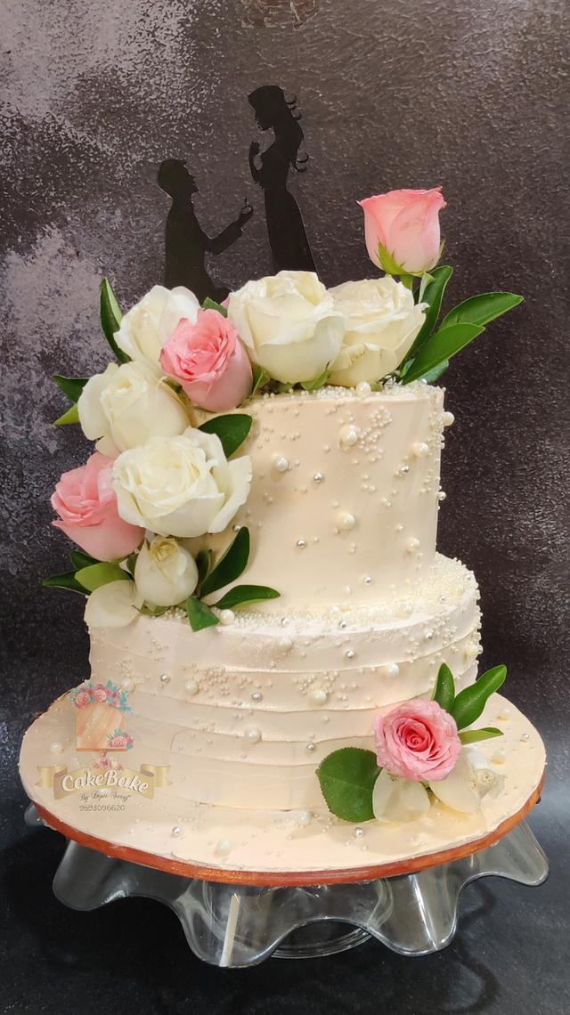 Engagement cake in whipped cream