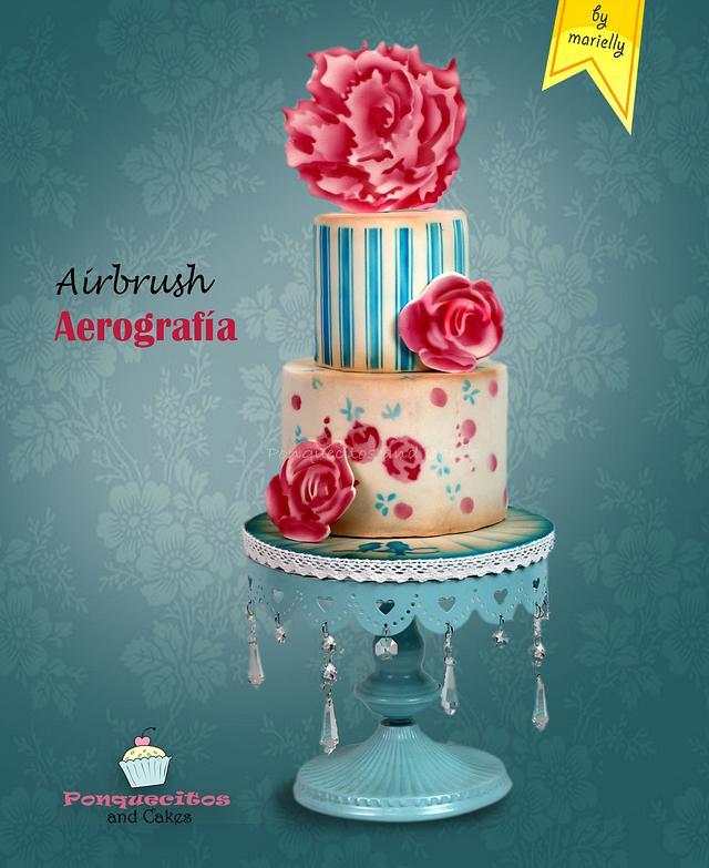 Airbrush Vintage Flower Cake