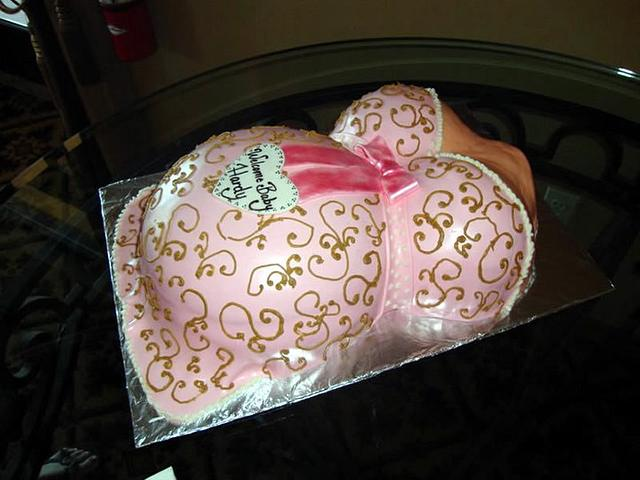 Baby shower baby belly cake