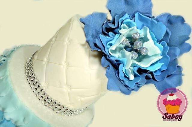 Blue peony ruffle wedding cake