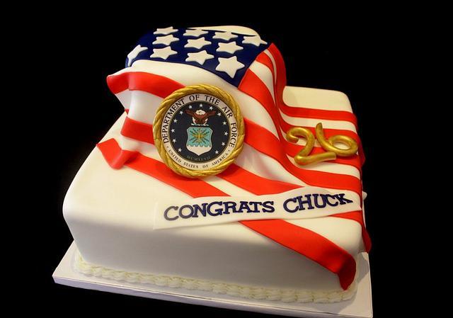American Flag retirement cake