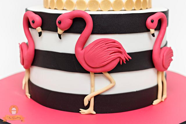 Flamingo Themed Cake and Cupcakes