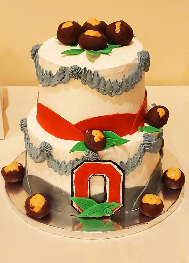 O-H-I-O State Buckeyes Wedding Cake