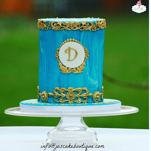 Blue and Gold marbled Fondant with Baroque