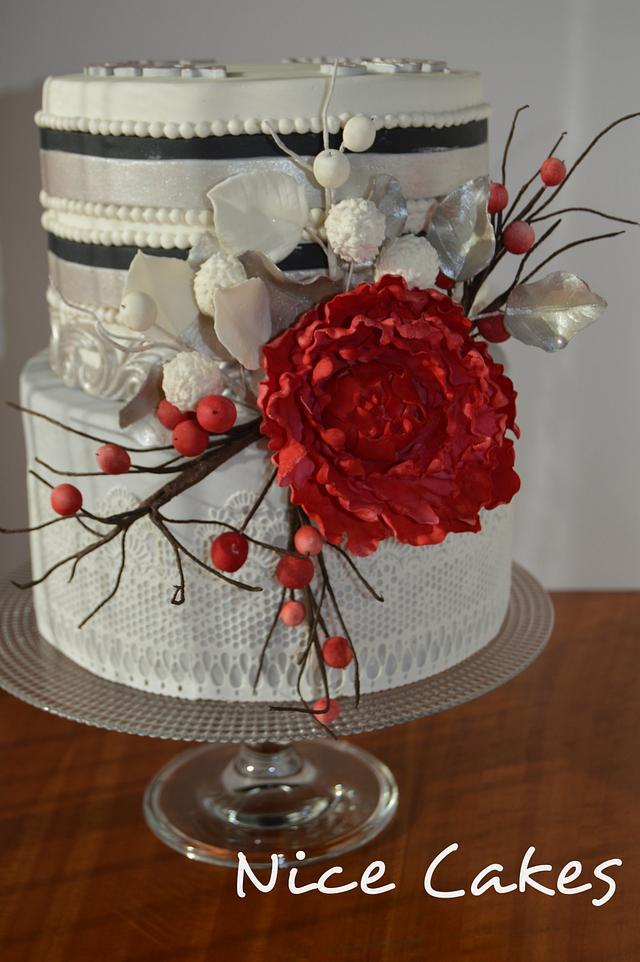Red peony cake