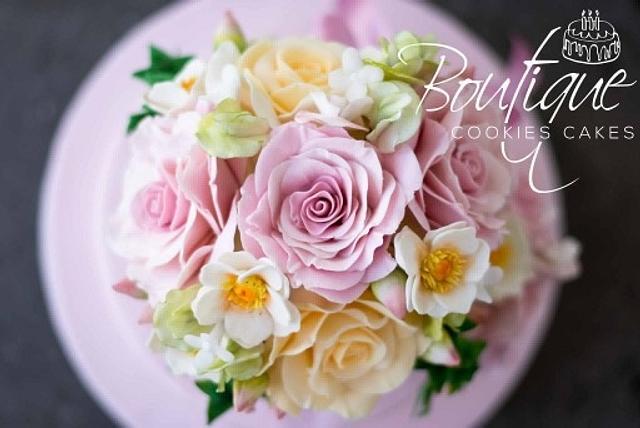Pink romantic cake