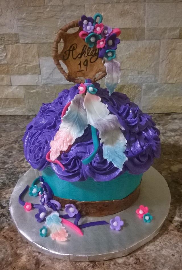 Dream catcher giant cupcake