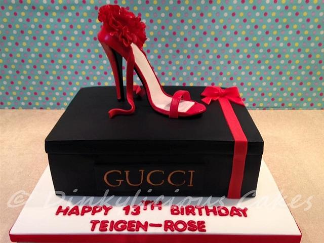 Gucci inspired stiletto shoe and shoebox