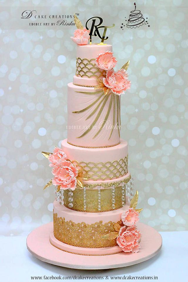 Tall Pink Five Tier Wedding Cake