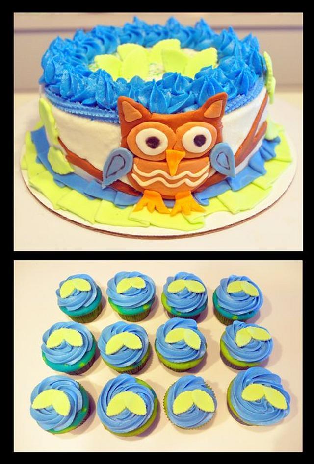Phenomenal 1St Birthday Owl Cake Cake By Wendy Cakesdecor Funny Birthday Cards Online Amentibdeldamsfinfo