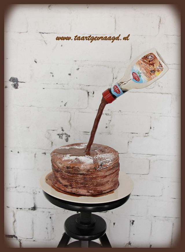 Gravity defying pancake cake