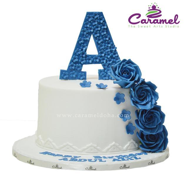 Fabulous Blue Love Birthday Cake Cake By Caramel Doha Cakesdecor Personalised Birthday Cards Paralily Jamesorg