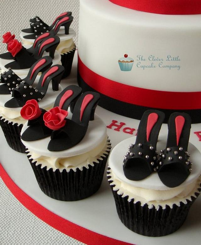 Louboutin Shoe Cake with Matching Cupcakes