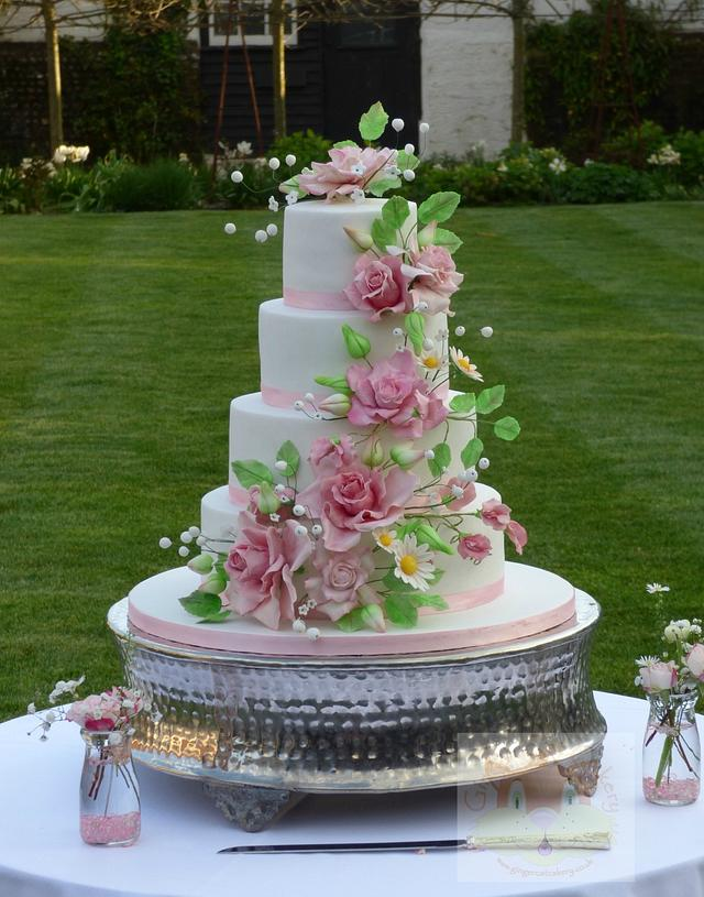 Wild roses wedding cake