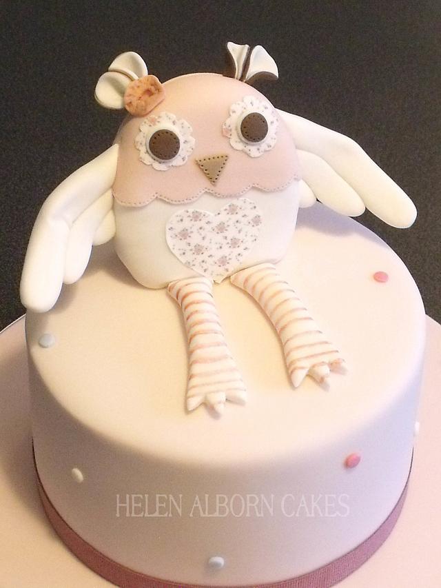 Excellent Little Owl First Birthday Cake Cake By Helen Alborn Cakesdecor Funny Birthday Cards Online Hendilapandamsfinfo