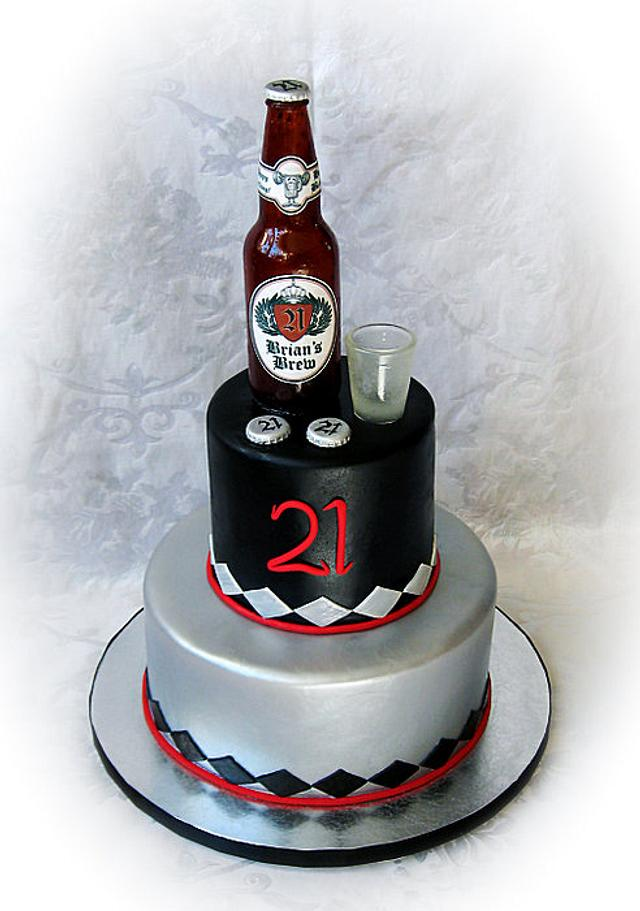 Sensational Sugar Beer Bottle And Shot Glass Cake Cake By Cakesdecor Personalised Birthday Cards Epsylily Jamesorg