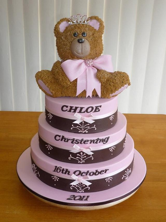 Chirstening cake with 3D Teddy bear