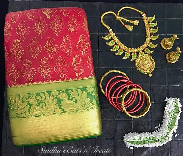 Indiansilksaree &jewellery cake