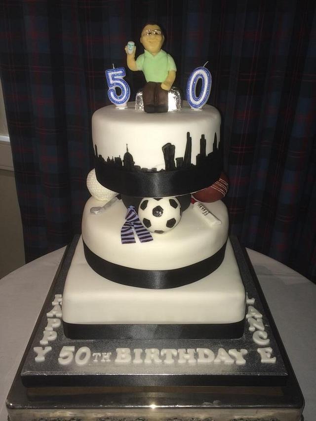 Tremendous Sport City 50Th Birthday Cake Cake By Art Of Cakes Cakesdecor Birthday Cards Printable Benkemecafe Filternl