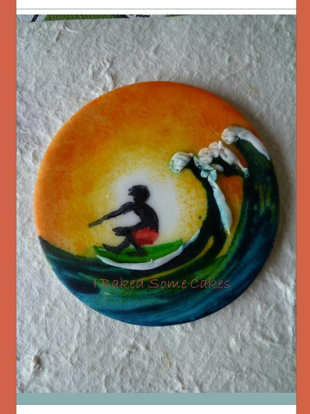 handpainted surfer cupcake topper