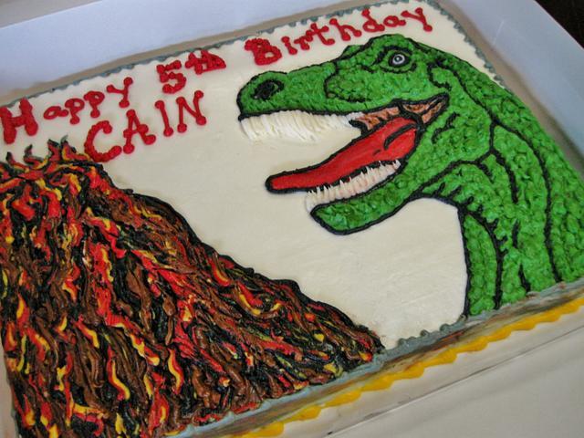 T-Rex cake in all buttercream