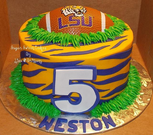 Wondrous Lsu Tigers Cake By Sugar Sweet Cakes Cakesdecor Personalised Birthday Cards Veneteletsinfo