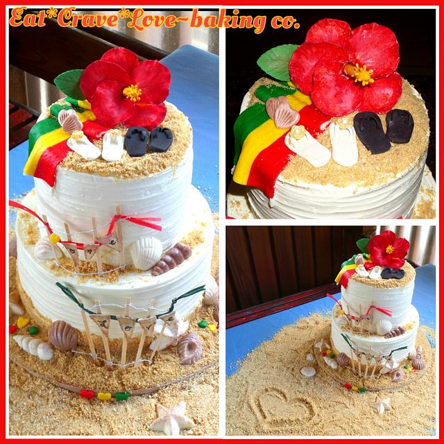 """One Love"" Rasta reggae beach wedding cake"