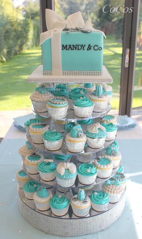 Wondrous A Tiffany Inspired Birthday Cake And Cupcakes Cake By Cakesdecor Funny Birthday Cards Online Benoljebrpdamsfinfo