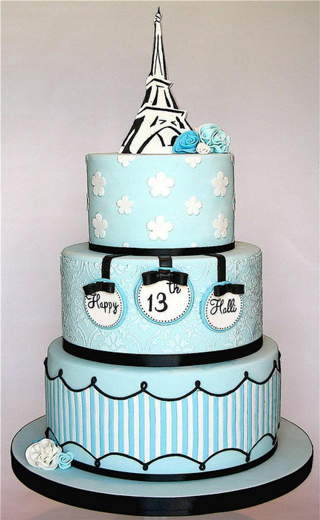 Super Paris Themed Birthday Cake Cake By Kathys Little Cakesdecor Funny Birthday Cards Online Fluifree Goldxyz