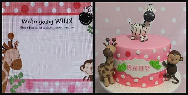 Going Wild Baby Shower Cake , cake by Custom Cake Designs