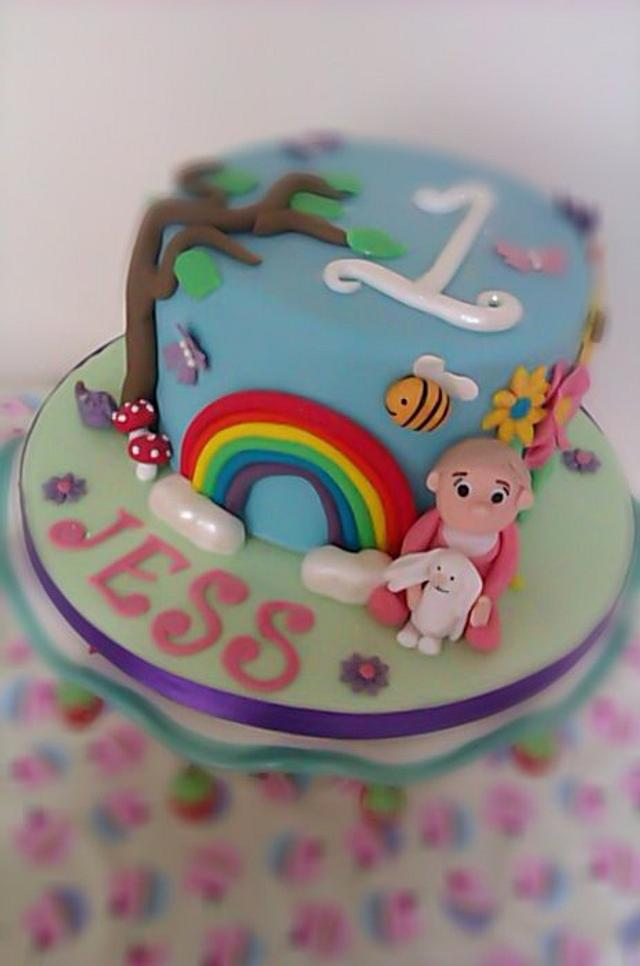 Happy and colourful 1st birthday cake