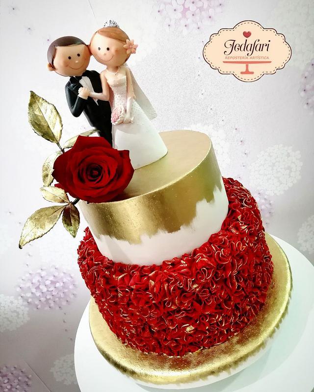 Rojo pasión!! Pastel de bodas