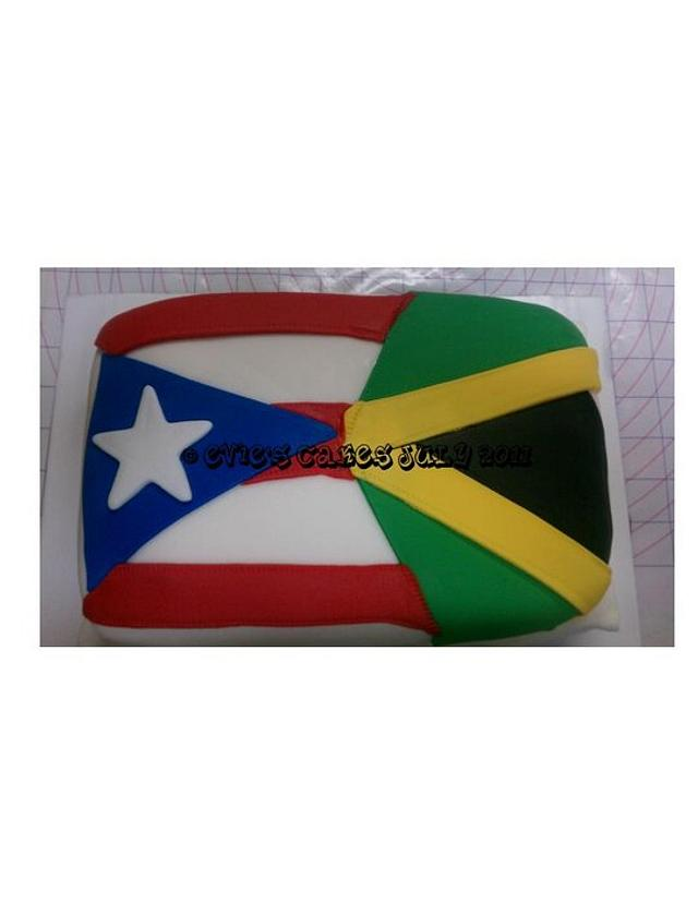 Two Flags As One 10yr Anniversary Cake