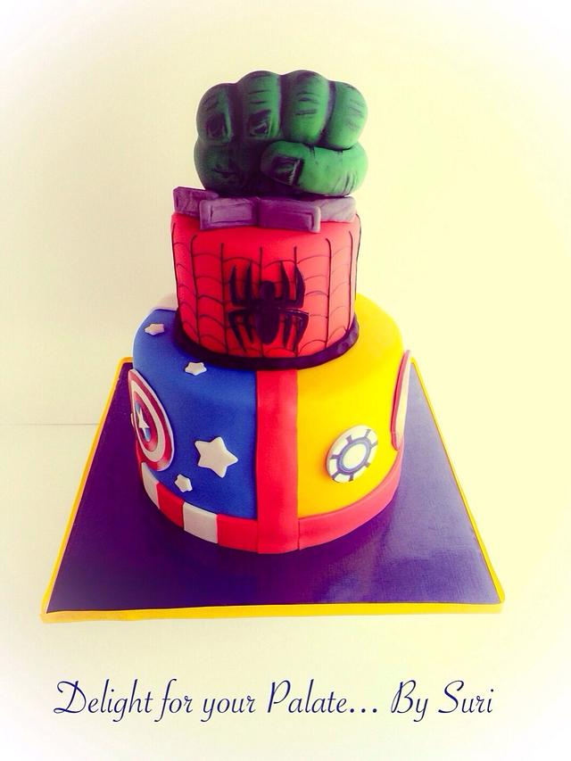Fantastic Superheroes Birthday Cake Cake By Delight For Your Cakesdecor Personalised Birthday Cards Veneteletsinfo