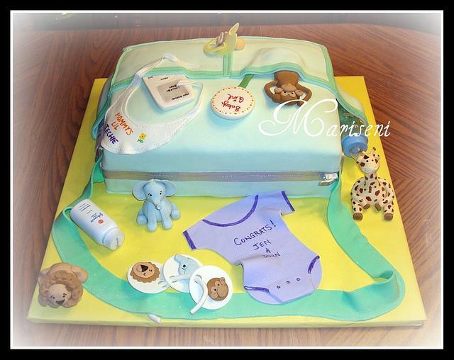 Jungle Themed Diaper Bag Cake